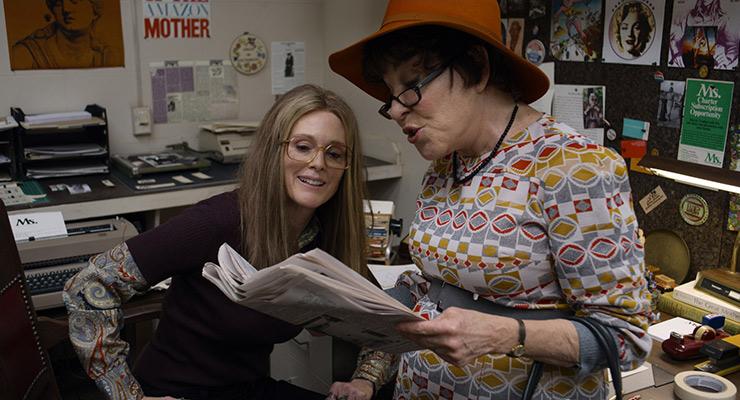 Julianne Moore as Gloria Steinem and Bette Midler as Bella Abzug in