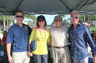Miami Beach Commissioner Mark Samuelian, Chris and Manny Meland and Ray Ray Breslin at Artscape Concert Series in Collins Park.