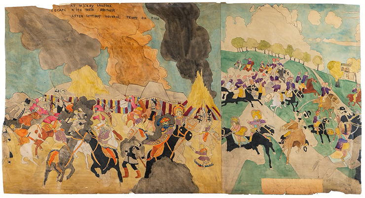 Henry Darger, at Wickey Lansina, escape with their brother/at Jennie Richie Breaking jail second time 1930-1950 (Courtesy of Andrew Edlin Gallery in New York City and Art Basel)