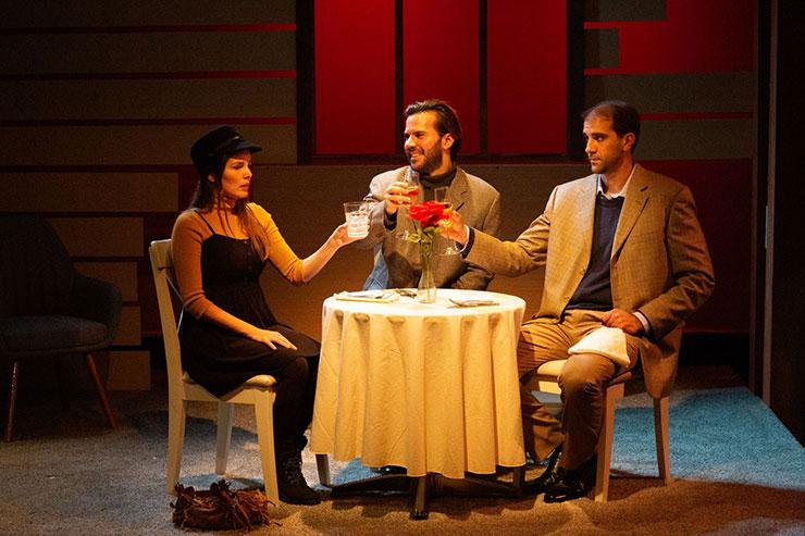 From left to right, Tara (actress Gaby Tortoledo), Elliott (Israel Vinas) and Gabriel (Stephen Kaiser) meet to discuss arrangement over wine. Photo Credit Matthew Tippins.
