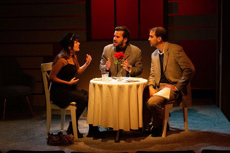 From left to right, Tara (Gaby Tortoledo), Elliott (Israel Vinas) and Gabriel (Stephen Kaiser) in a discussion. Photo Credit Matthew Tippins.