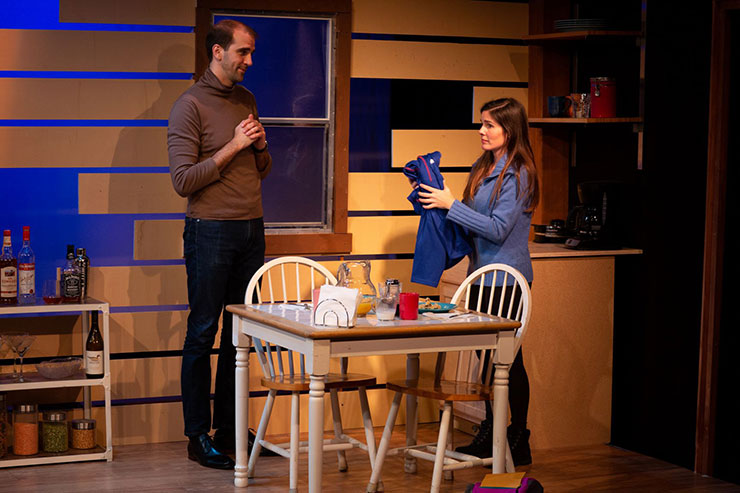 From left to right, Gabriel (Stephen Kaiser) in a discussion with Tara (Gaby Tortoledo). Photo Credit Matthew Tippins.
