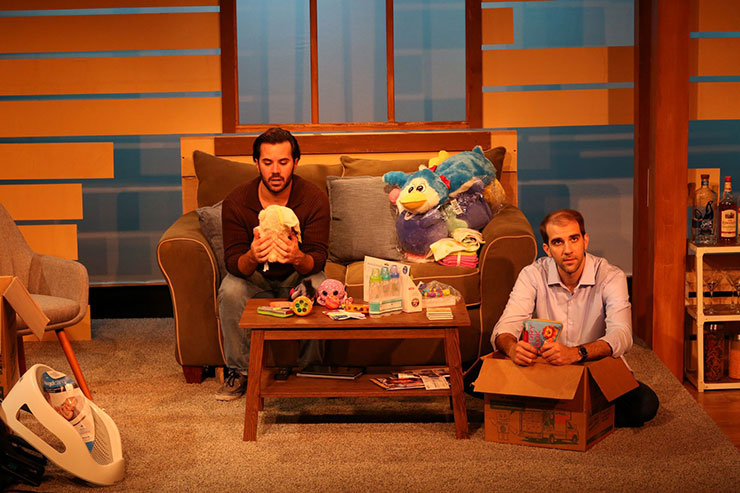 From left to right, Elliott (Israel Vinas) and Gabriel (Stephen Kaiser) discuss having a surrogate. Photo Credit Matthew Tippins.
