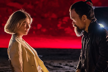 Rosamund Pike and Peter Dinklage in a scene from