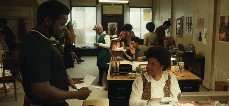 """Daniel Kaluuya as Chairman Fred Hampton and Dominique Fishback as Deborah Johnson in """"Judas and the Black Messiah,"""" a Warner Bros. Pictures release. Photo courtesy Warner Bros. Entertainment."""