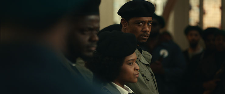 """Daniel Kaluuya (right) as Chairman Fred Hampton, Dominique Thorne as Judy Harmon and LaKeith Stanfield as Bill O'Neal in """"Judas and the Black Messiah,"""" a Warner Bros. Pictures release. Photo courtesy Warner Bros. Entertainment."""