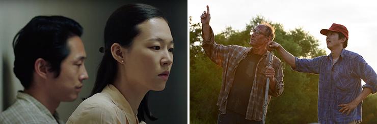 LEFT: Steven Yeun and Yeri Han in a scene from Minari,<br> Photo courtesy A24.<br> RIGHT: Will Patton and Steven Yeun in a scene from Minari, <br>Photo courtesy Melissa Lukenbaugh/A24.