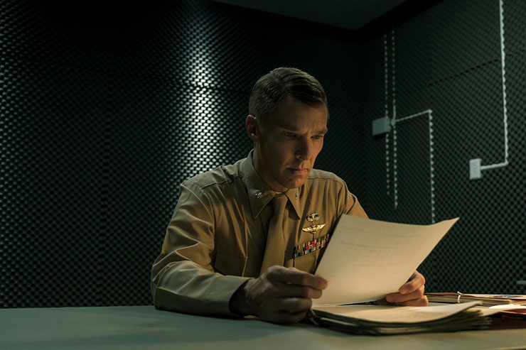 "Benedict Cumberbatch as U.S. Marines Lt. Col. Stuart Couch in ""The Mauritanian."" Photo courtesy Graham Bartholomew/STX Films."