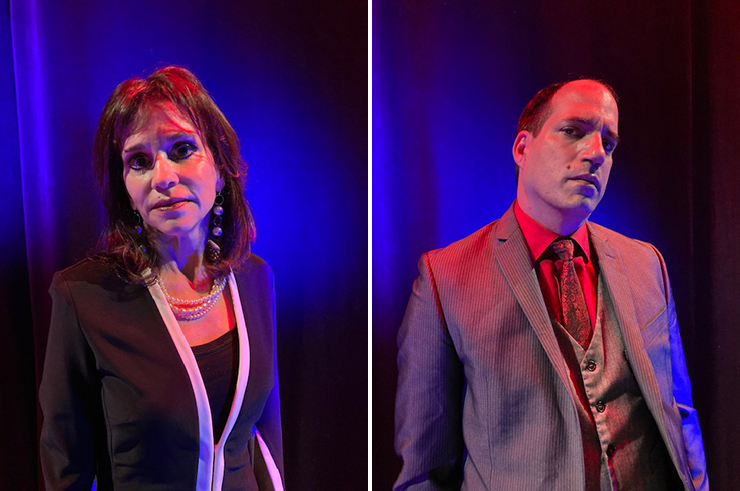 LEFT: Actress Linda Drozdow stars as Dorothy Pilsner in A Class Act at the Michael-Ann Russell Jewish Community Center in North Miami Beach.<br> RIGHT: Actor Jesus Reyna stars as Ignatio Perez in A Class Act at the Michael-Ann Russell Jewish Community Center in North Miami Beach.