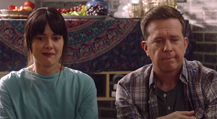 Patti Harrison and Ed Helms in a scene from