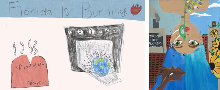 Florida's Burning: Analysse Garcia, age 8, Woman with Blue Hair: Dianna Sontela, age 16.