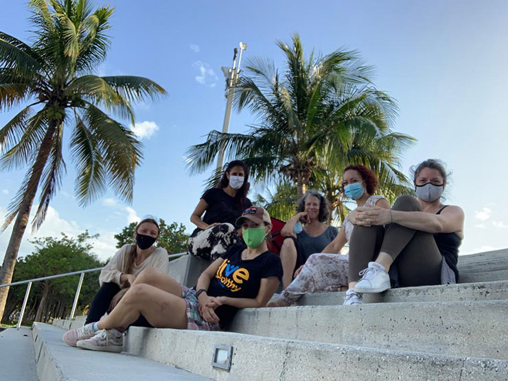 CIRCA/MIA explores visions of Miami's future based on drawings, interviews, and dialogue with 35-plus children across Miami-Dade County,  and will be performed by six of the children's mothers. Performing Moms from left clockwise, Krista Miller, Liza Carmona, Jordan Levin, Valerie Berreiro, Shana Weler Cherry and Sandra Portal-Andreu.