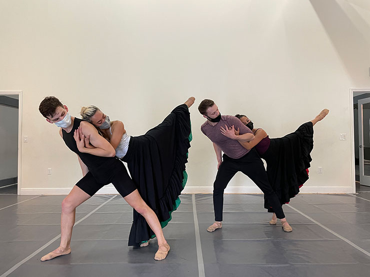 """""""Anusim"""" From left to right: (performing wearing masks only in rehearsal): David Harris, Isabelle Luu Li Haas, Matthew Heufner and  Allyn Ginns Ayers in the world premiere of """"Anusim: What Is Hidden Is Never Lost"""" on May 15 at Broward Center and June 19 at Miami Theater Center."""