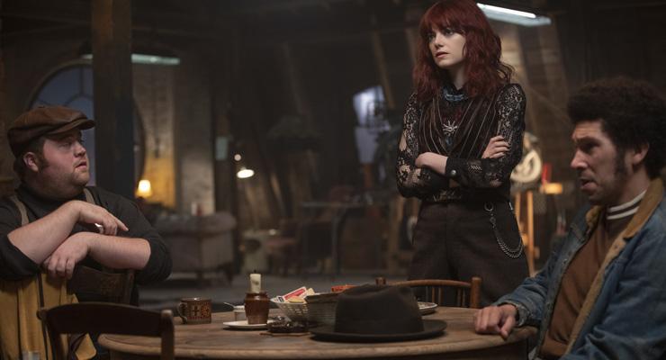 Paul Walter Hauser as Horace, Emma Stone as Estella and Joel Fry as Jasper in Disney's live-action