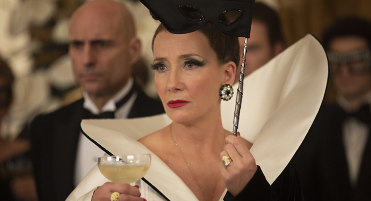 Mark Strong as John the Valet and Emma Thompson as the Baroness in Disney's live-action