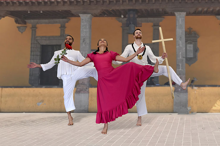 """""""La Malinche"""" From left to right: Anthony Velazquez, Allyn Ginns Ayers and Matthew Heufner in """"La Malinche"""" on May 15 at Broward Center."""
