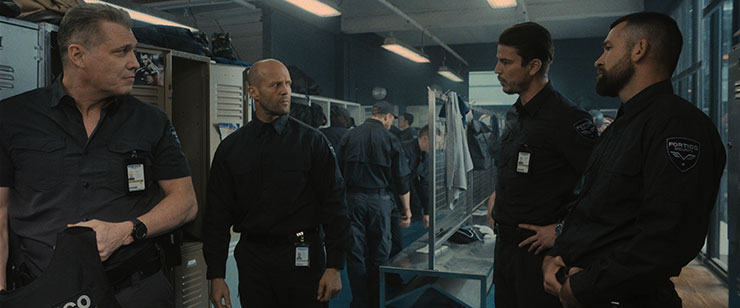 Holt McCallany as Bullet, Jason Statham as H, Josh Hartnett as Boy Sweat Dave, and Rocci Williams as Hollow Bob in director Guy Ritchie's