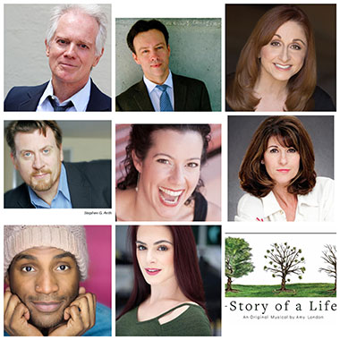 """The eight actors in """"Story Of A Life"""" are: top row (from left to right): Barry Tarallo, Terry Hardcastle, Irene Adjan; middle row (from left to right): Stephen J. Anthony, Laura Hodos, Patti Gardner; bottom row: Elijah Word, Emily Tarallo perform in """"Story Of A life"""" at Broward Center June 18-20."""