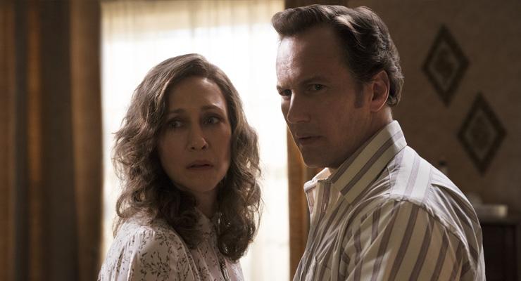 Vera Farmiga as Lorraine Warren and Patrick Wilson as Ed Warren in a scene from
