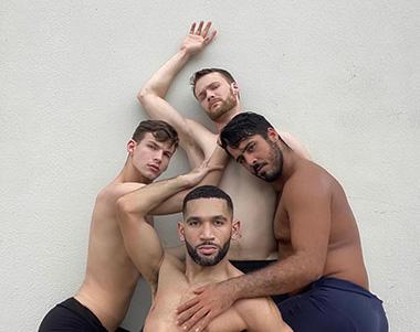 Dance Now! Miami's Dorian's Reflection. From left, David Harris,  Anthony Velazquez, Matthew Heufner, and Joshua Rosado. (Photo credit: Dance Now! Miami)