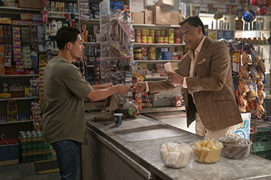 Anthony Ramos as Usnavi and Jimmy Smits as Kevin Rosario in a scene from