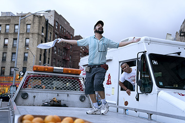 Lin-Manuel Miranda as Piragüero and Christopher Jackson as Mr. Softee Truck Driver in a scene from