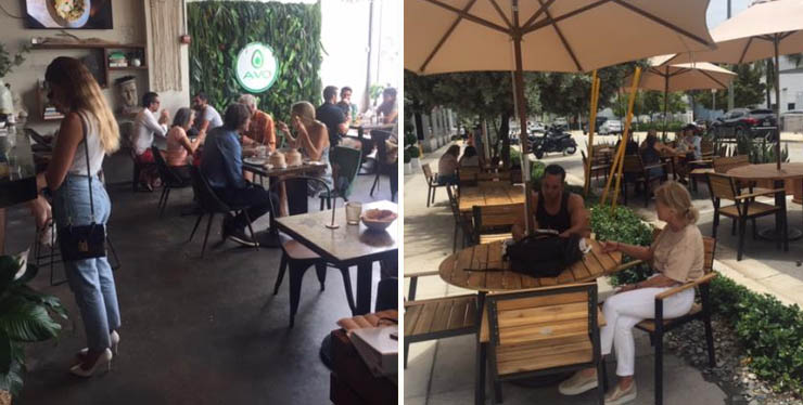 Indoor seating, left, and outdoor seating, right, at Avo Miami.