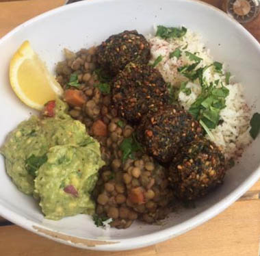 Vegan falafel power bowl.