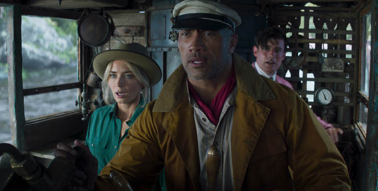Emily Blunt, Dwayne Johnson and Jack Whitehall in a scene from