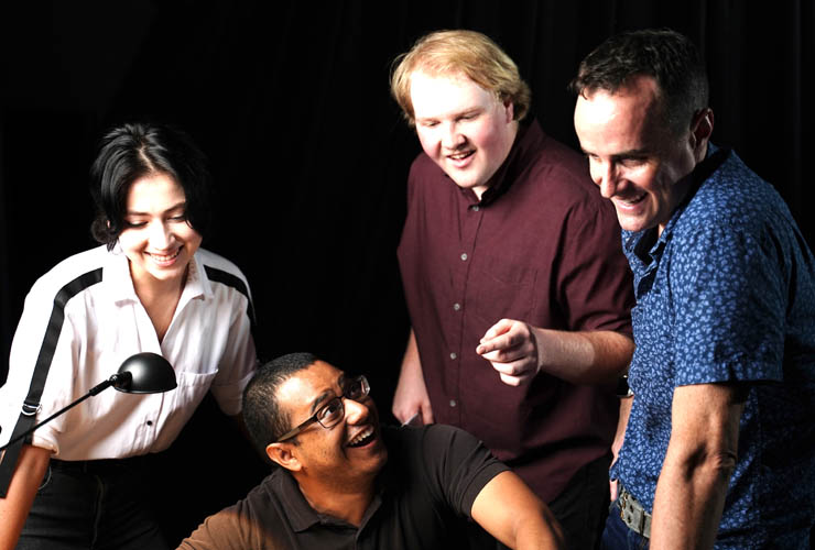 The Miami-performance cast include, from left, Natalie Veater as Susan, Jared Peroune at the piano, Owen Reynolds as Hunter, and Michael Stoddard as Jeff.