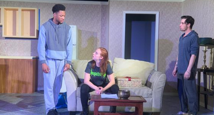(from left to right): Actors Joshua Lyons (Maddox), Melissa Bibliowicz (Ainsley) and Brandon Hoffman (Landon) confront each other in a scene from