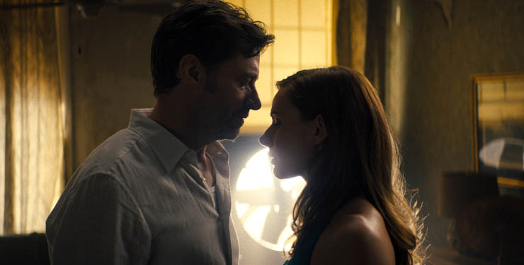 Hugh Jackman and Rebecca Ferguson in a scene from