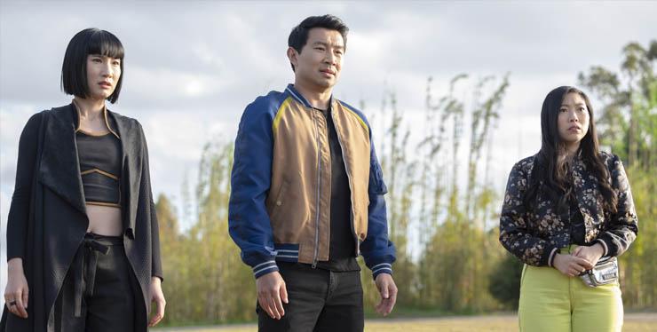 Meng'er Zhang, Simu Liu and Awkwafina in a scene from