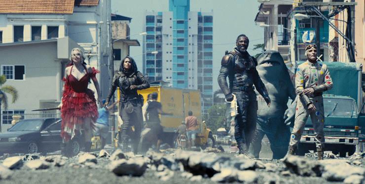 Margot Robbie, Daniela Melchior, Idris Elba, Sylvester Stallone (voice) and David Dastmalchian in a scene from