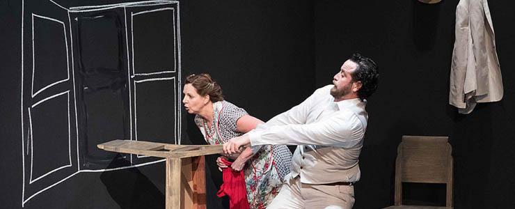 Por Piedad Teatro's production of A Special Day, Ana Graham, Antonio Vega (Photo by Gabriel Bancora)