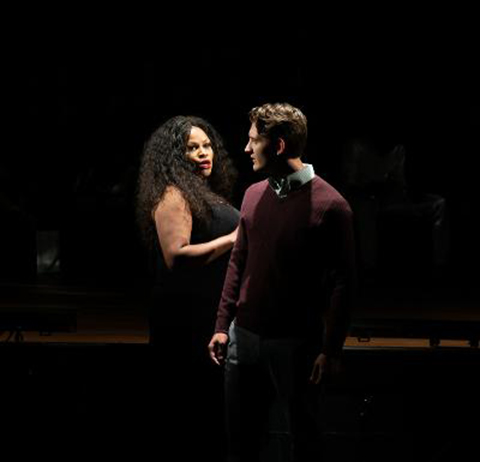 Titania (Chastity Hart) and Director (Matthew Salas) appear in a scene from Main Street Players' production of