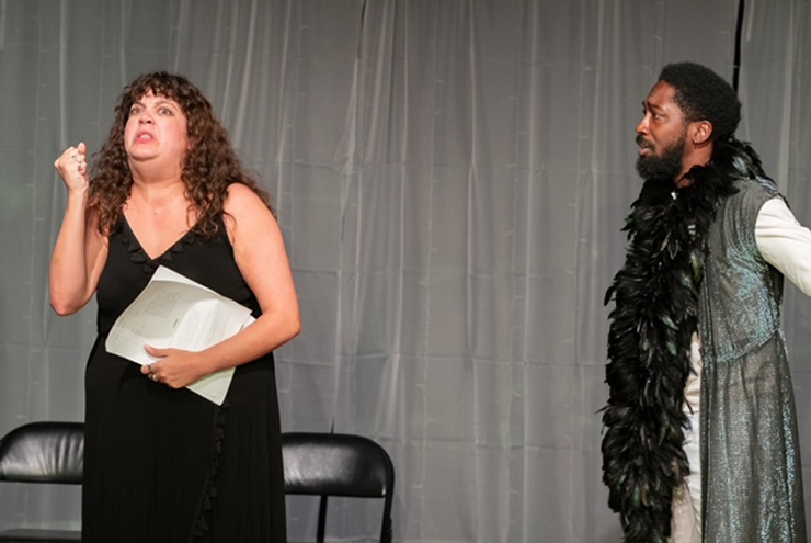 Actress (Erin Christine Wilbanks) and Macbeth (Roderick Randle) in a tense moment from Main Street Players' production of